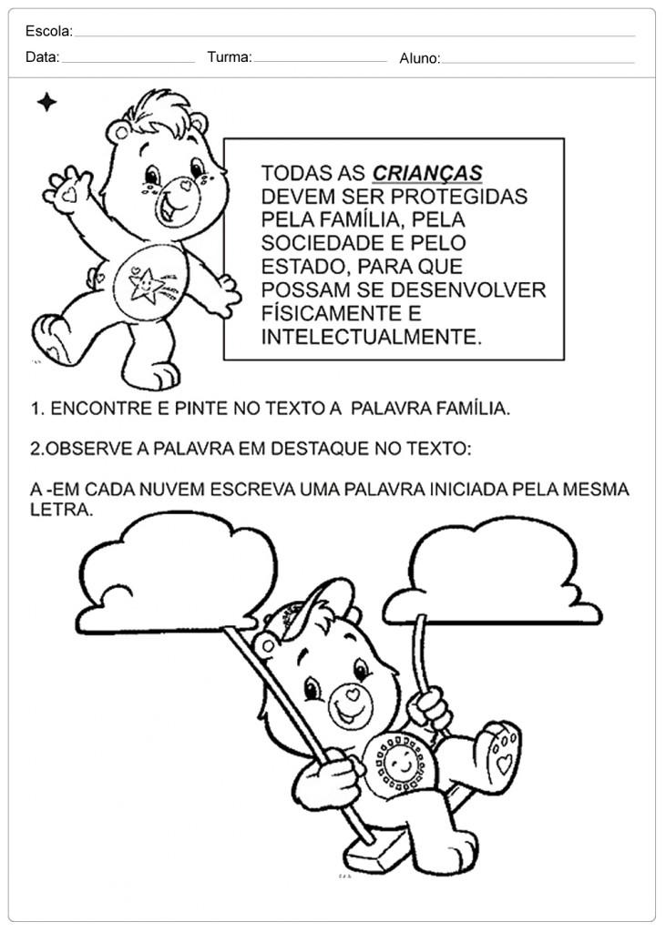 Well-known Atividades Direito das Crianças - Para Imprimir - Escola QC14