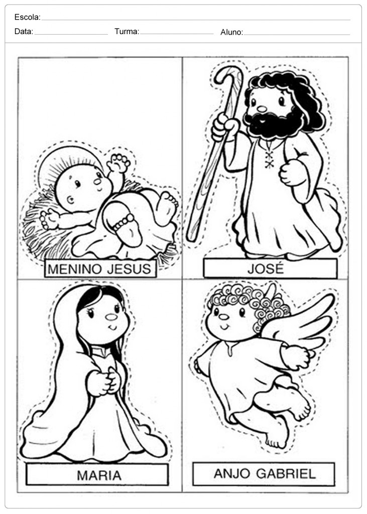 Moldes para Presépio - Jesus, Maria e José