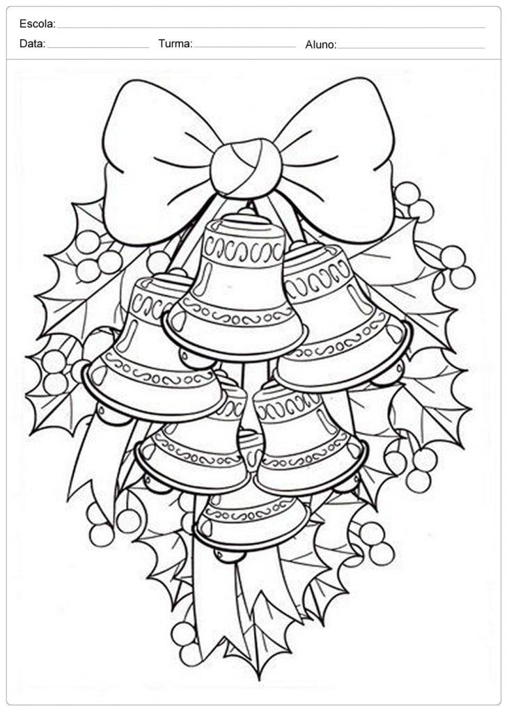 Sinos de Natal para Colorir - Decoração de Natal