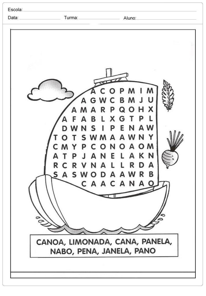 Atividades de Palavras Cruzadas e Cruzadinha - Letra N