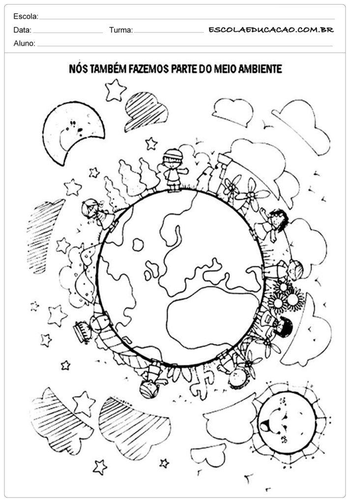 Atividades dia do meio ambiente - Figura para colorir