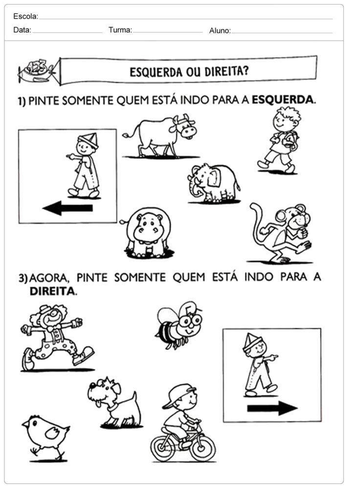 Conhecido Atividades Lateralidade: Direita e Esquerda - Para Imprimir - Educação XU25