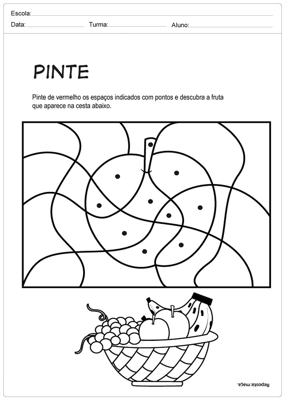 Pinte Para Achar A Fruta Escola Educacao
