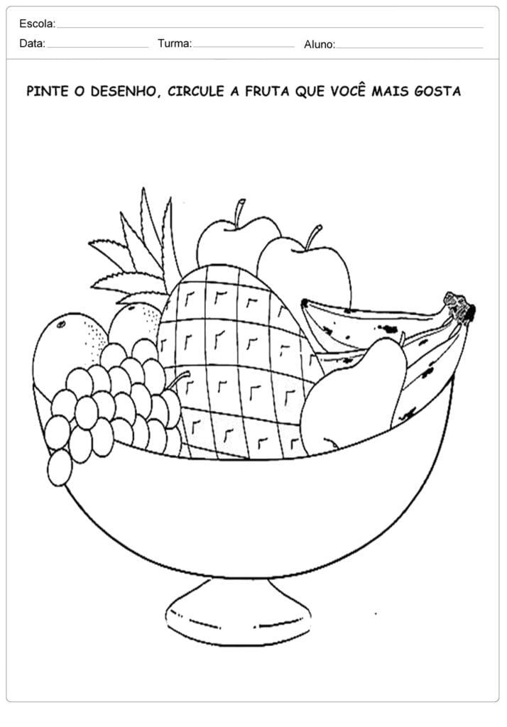 Circule a fruta - Atividades sobre Alimentação