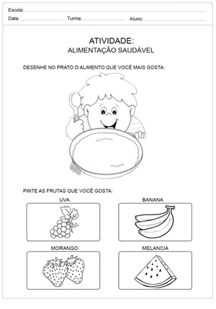 Desenhe o alimento no prato