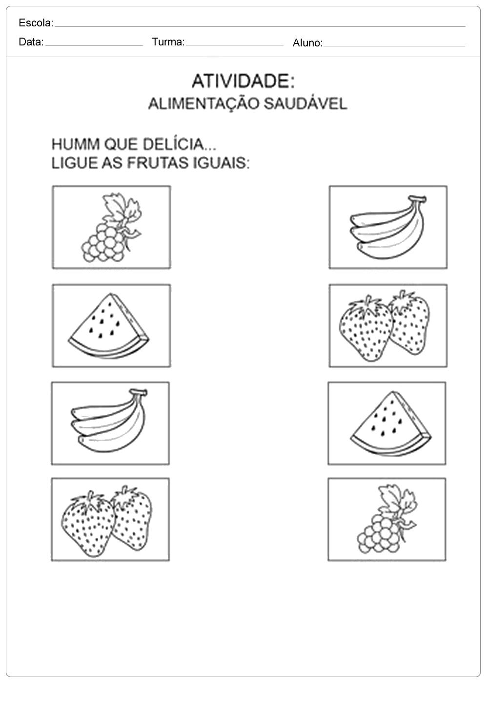 Favoritos Ligue as frutas iguais - Escola Educação RZ09