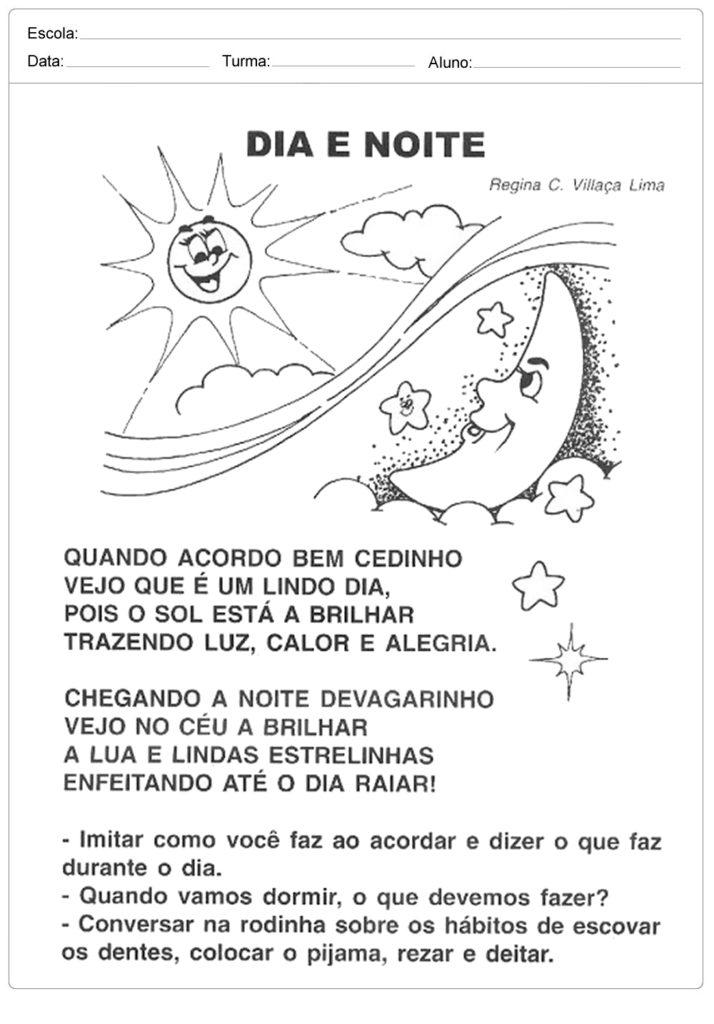 Atividades Dia e Noite - Poema Dia e Noite