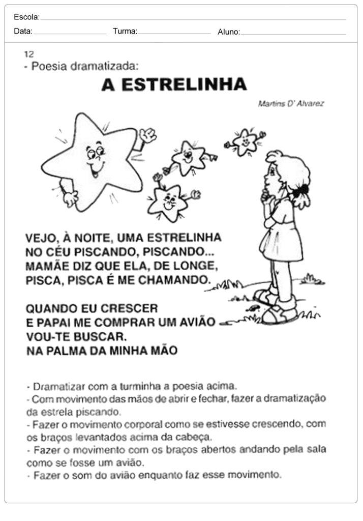 Atividades Dia e Noite - Poesia a Estrilinha