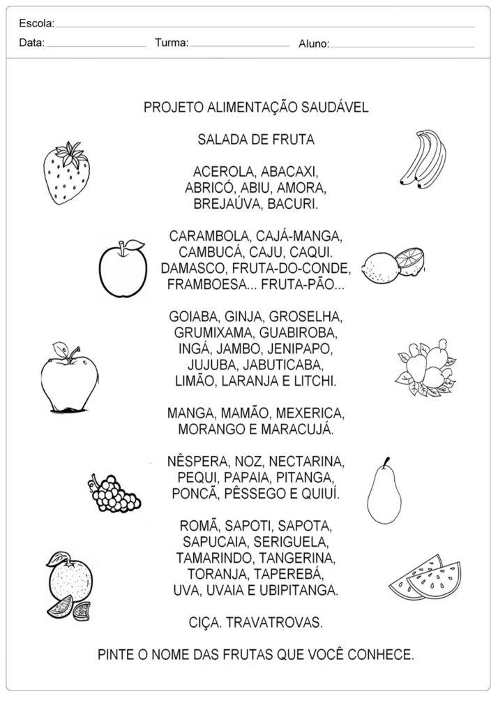 Fabuloso Atividades de Alimentação Saudável Para Imprimir - Atividades  QA61