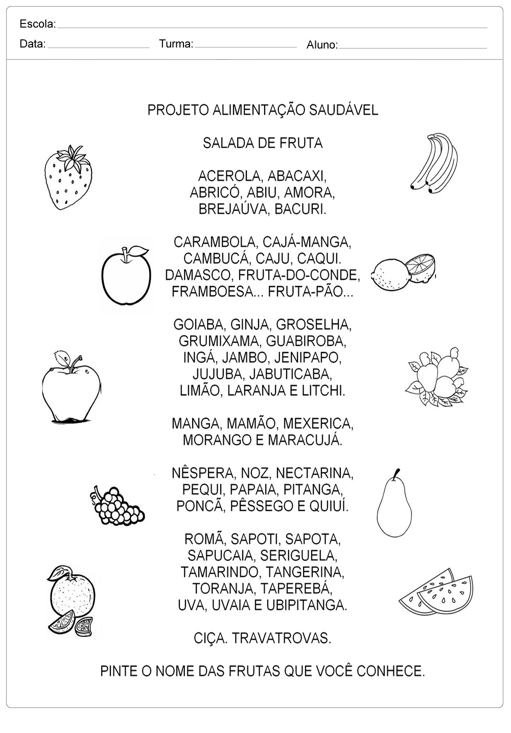 Projeto Alimentação Saudável  – Salada de Frutas