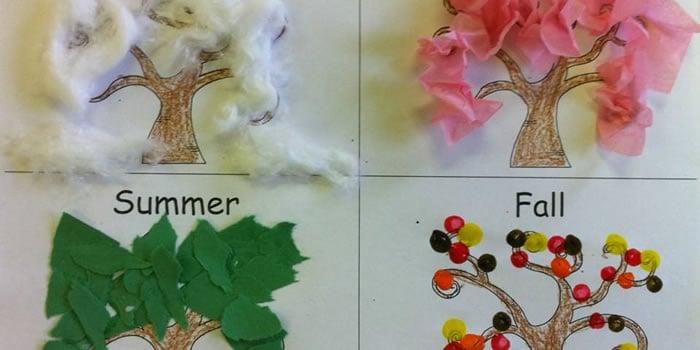 Árvores que simbolizam as estações do ano