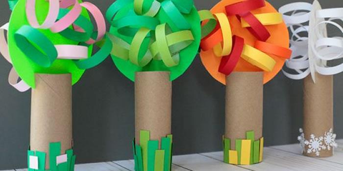 Árvores representando as quatro estações feita de material reciclado