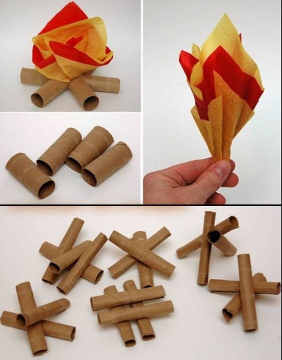 Modelo de decoração imitando fogueira junina