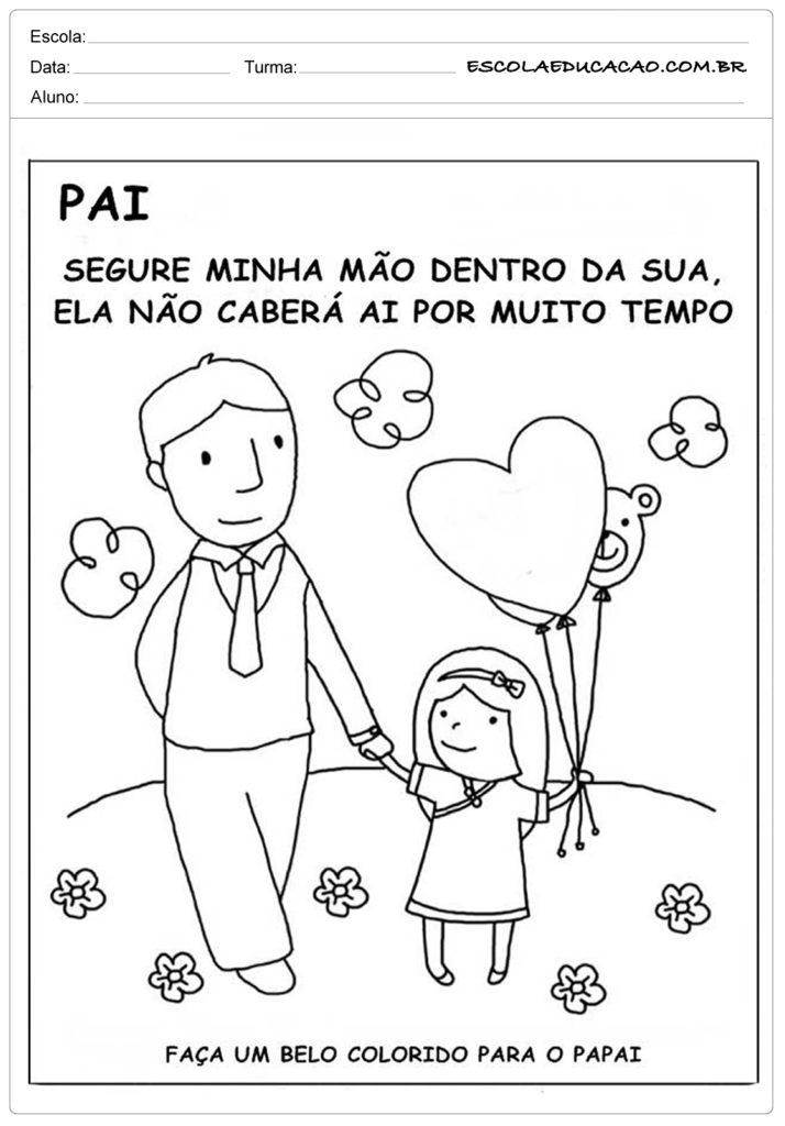 Atividades Dia dos Pais para Educação Infantil - Colorido para o papai