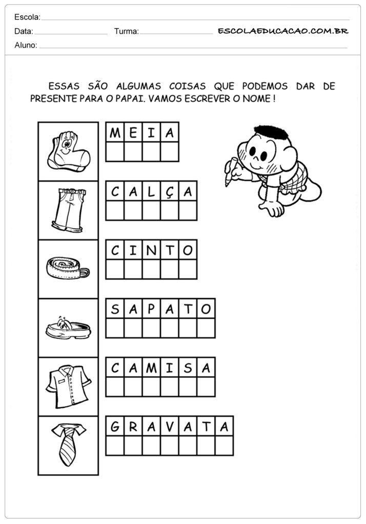 Atividades Dia dos Pais para Educação Infantil - Presente para o papai