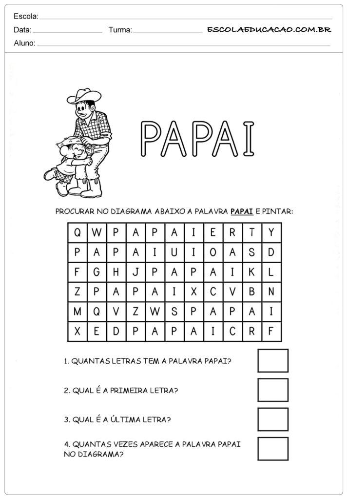 Atividade Dia dos Pais Ensino Fundamental - Caça-palavras