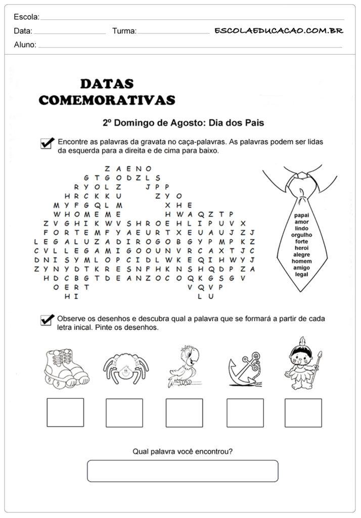 Atividade Dia dos Pais Ensino Fundamental - Encontre as palavras