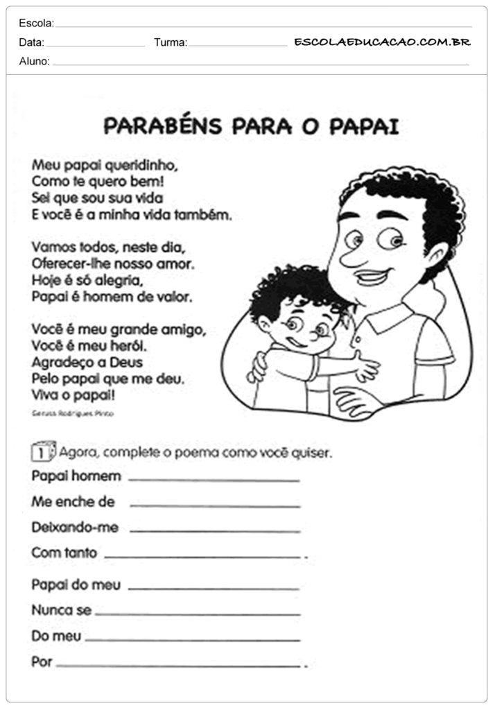 Atividade Dia dos Pais Ensino Fundamental - Parabéns para o papai