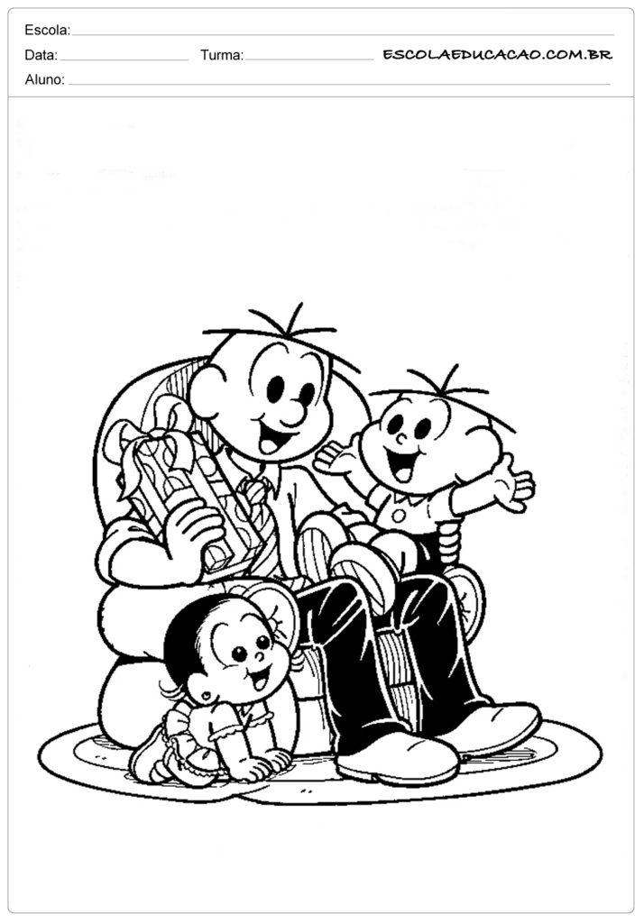 Atividades Dia dos Pais para Maternal - Turma da mônica