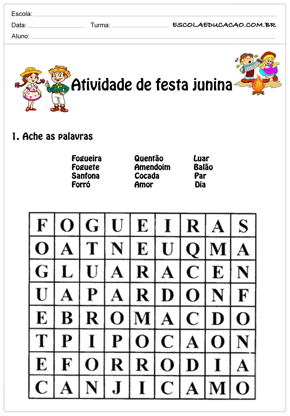 Atividade de festa junina 1°ano ache as palavras