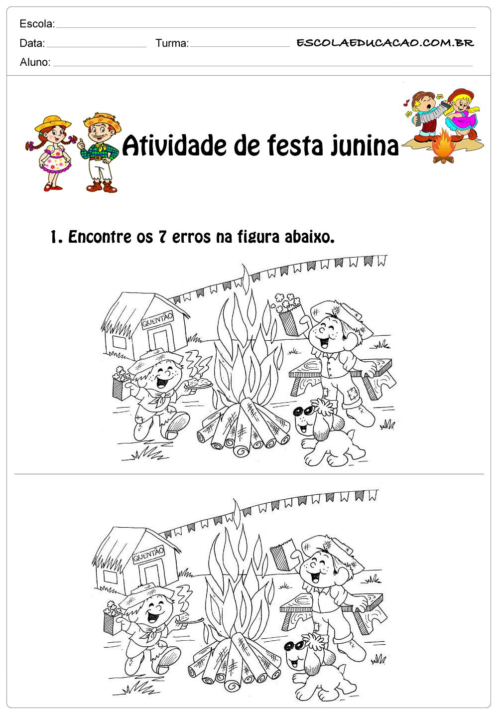 Atividade de festa junina 1°ano encontre os 7 erros