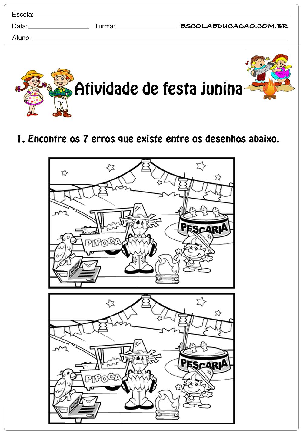 Atividade de festa junina 1°ano jogo dos 7 erros