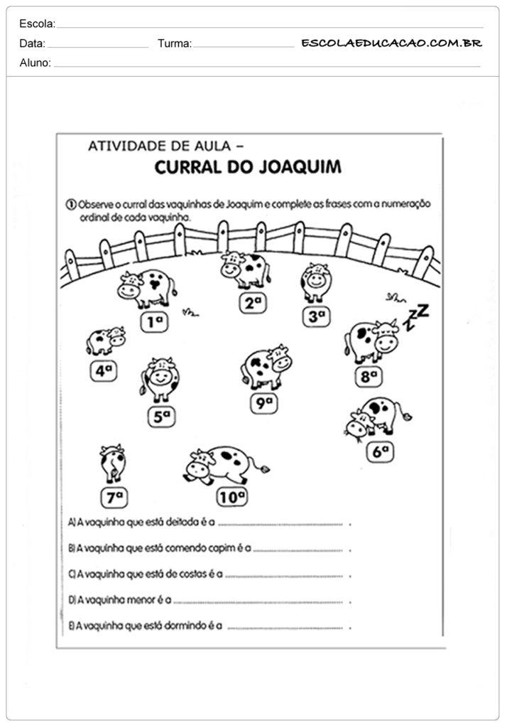 Atividades com Números Ordinais para Alfabetização - Alfabetização curral do joaquim