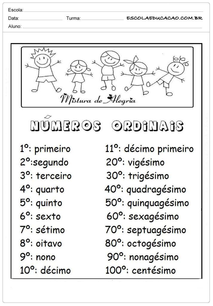Atividades com Números Ordinais para Alfabetização - Números ordinais