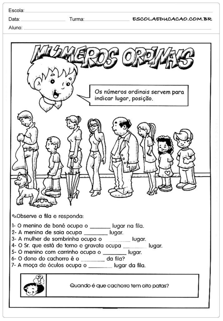 Atividades com Números Ordinais para Alfabetização - Observe a fila e responda