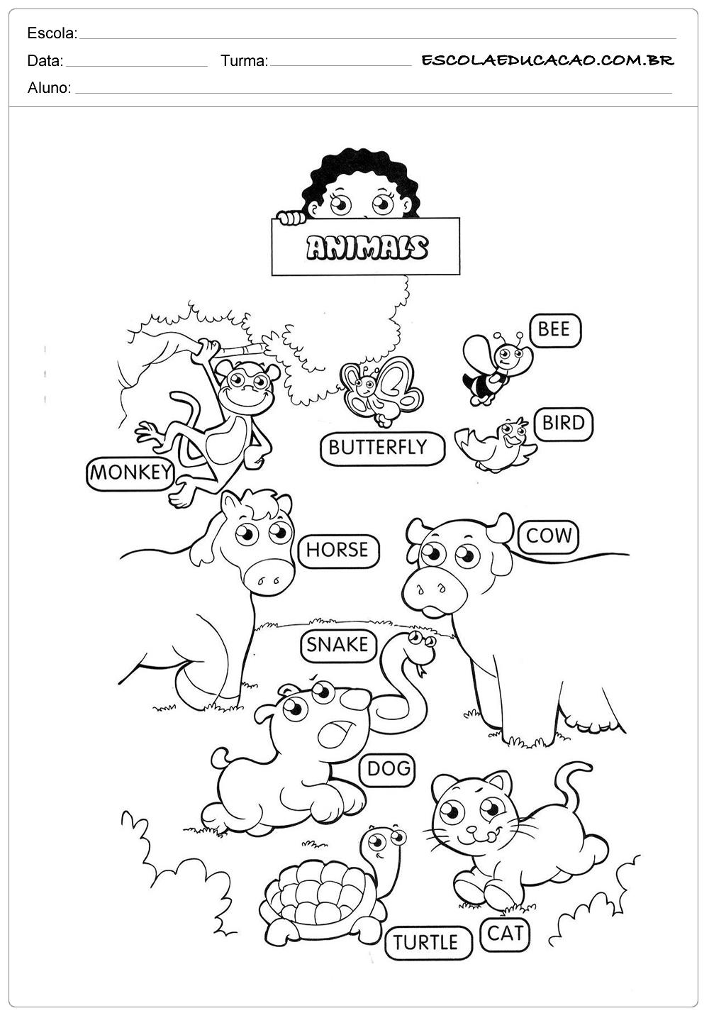 Favoritos Atividades de inglês para educação infantil - Animais - Escola  RO87