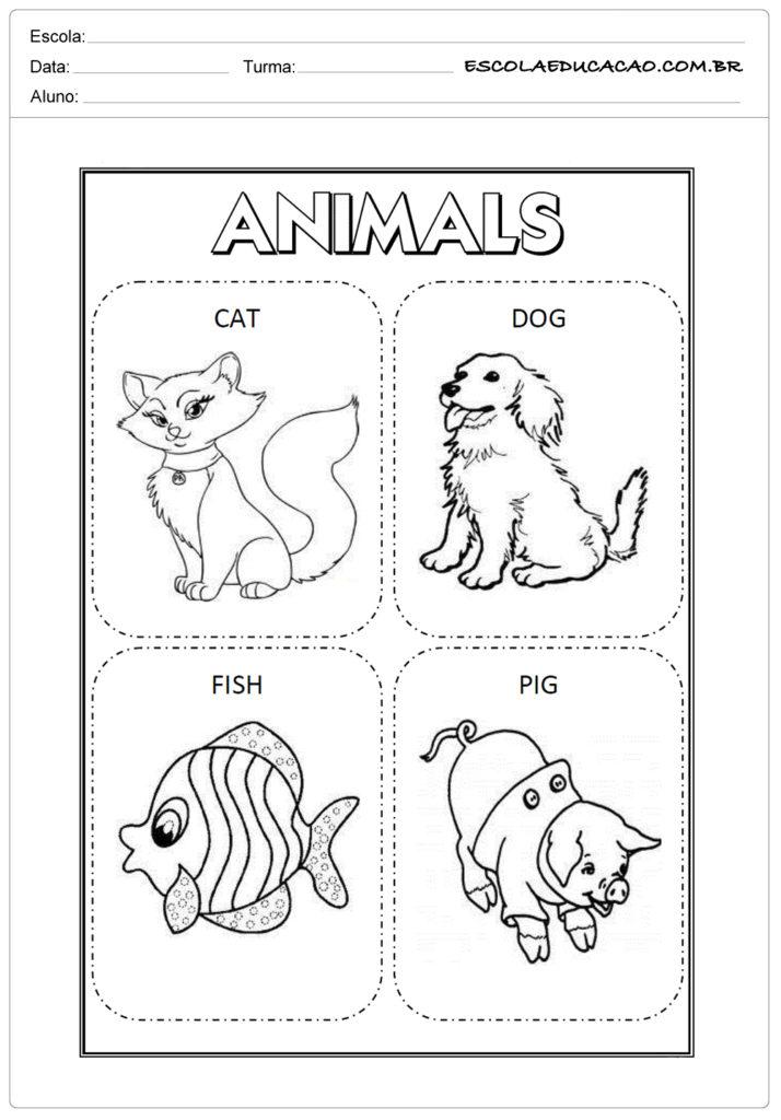 Atividades de inglês para educação infantil - Cartões de animais