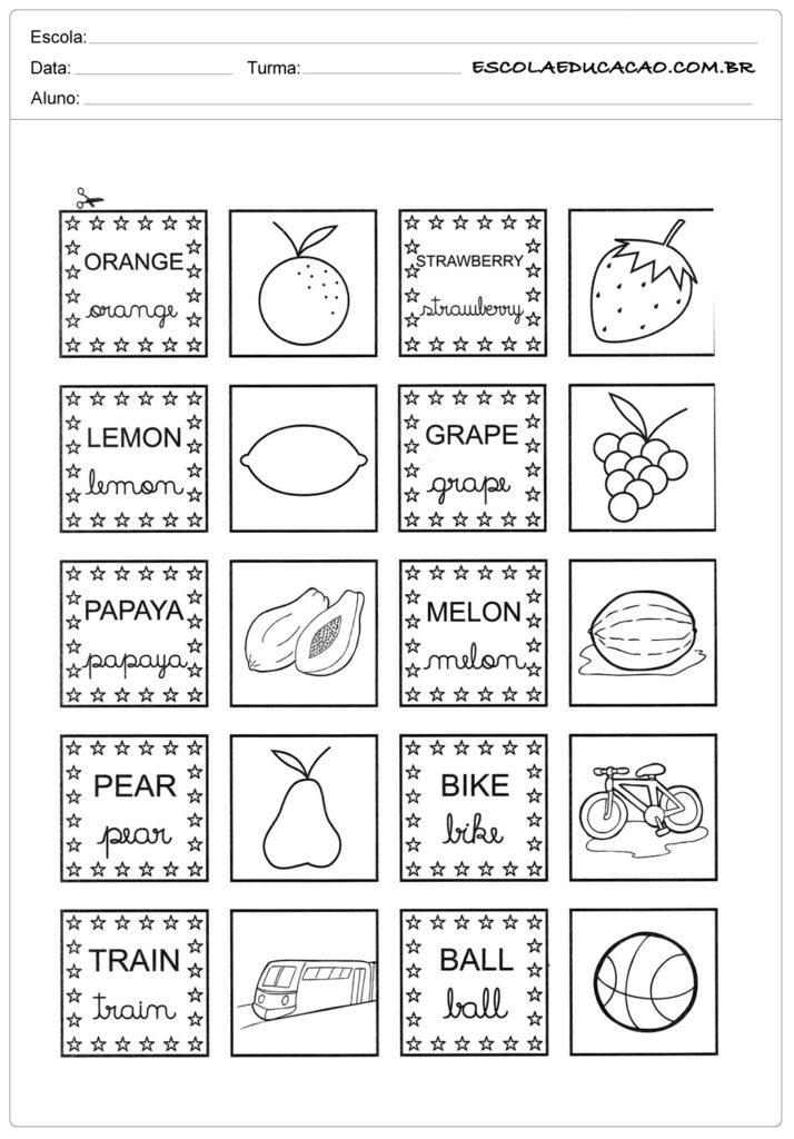 Atividades de inglês para educação infantil - Cartões de memorização