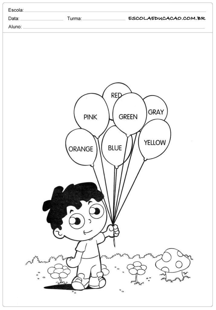 Atividades de inglês para educação infantil - Cores