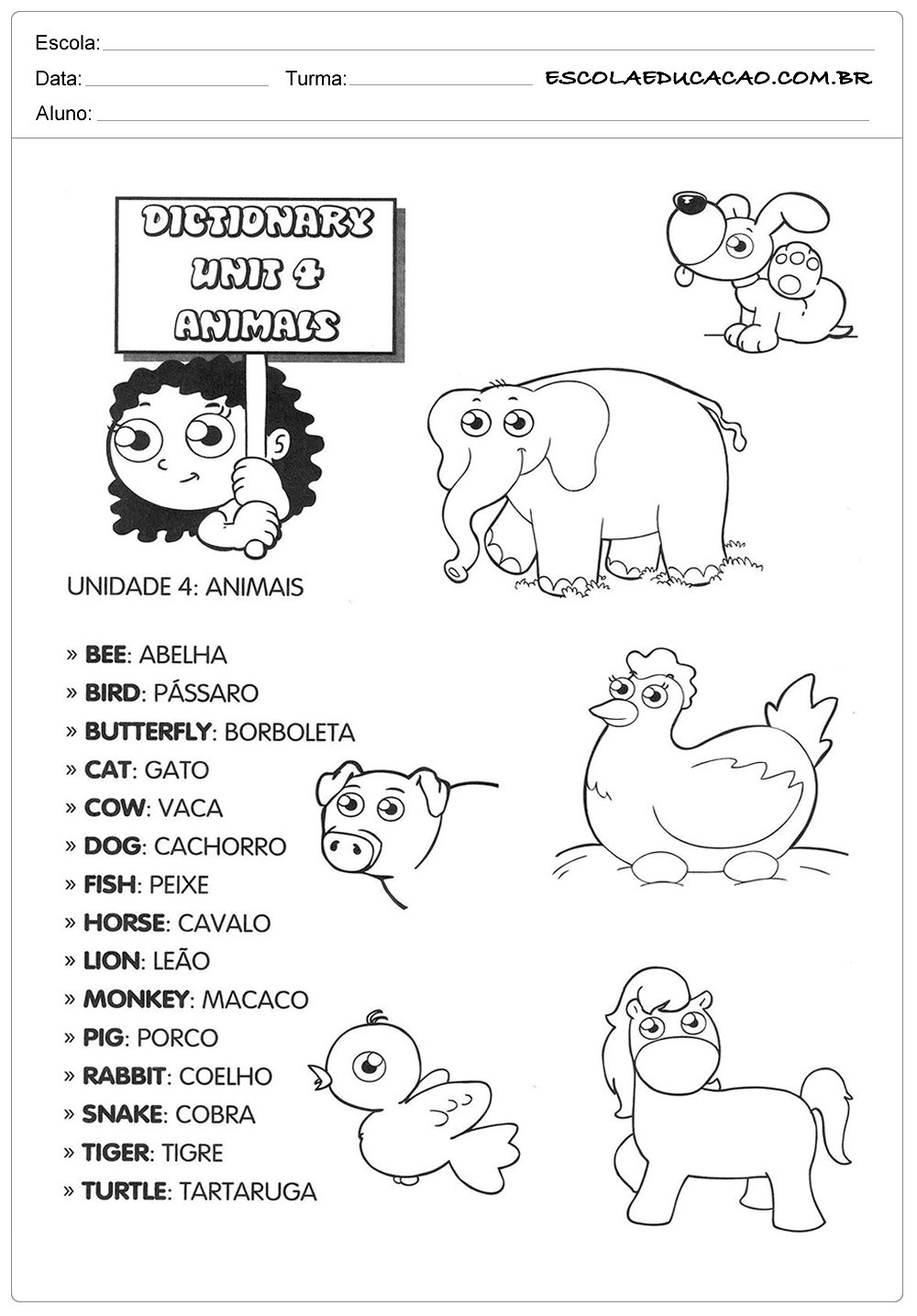 Conhecido Atividades de inglês para educação infantil - Animais - Escola  RW78