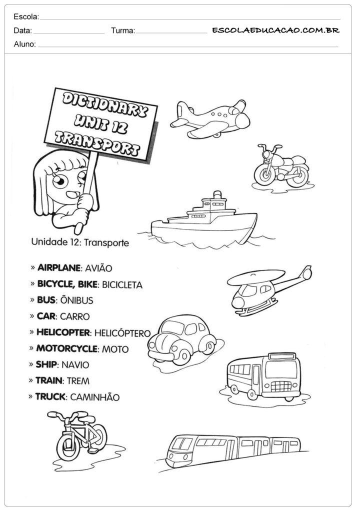 Atividades de inglês para educação infantil - Meios de transporte