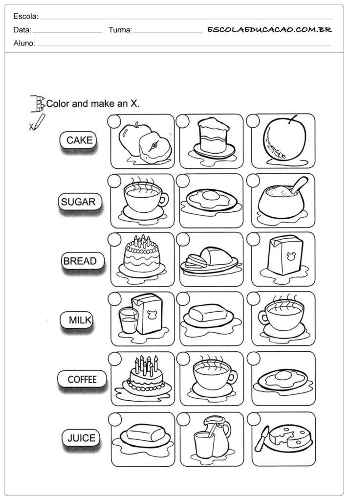 Atividades de inglês para educação infantil - Marque um X no item correto