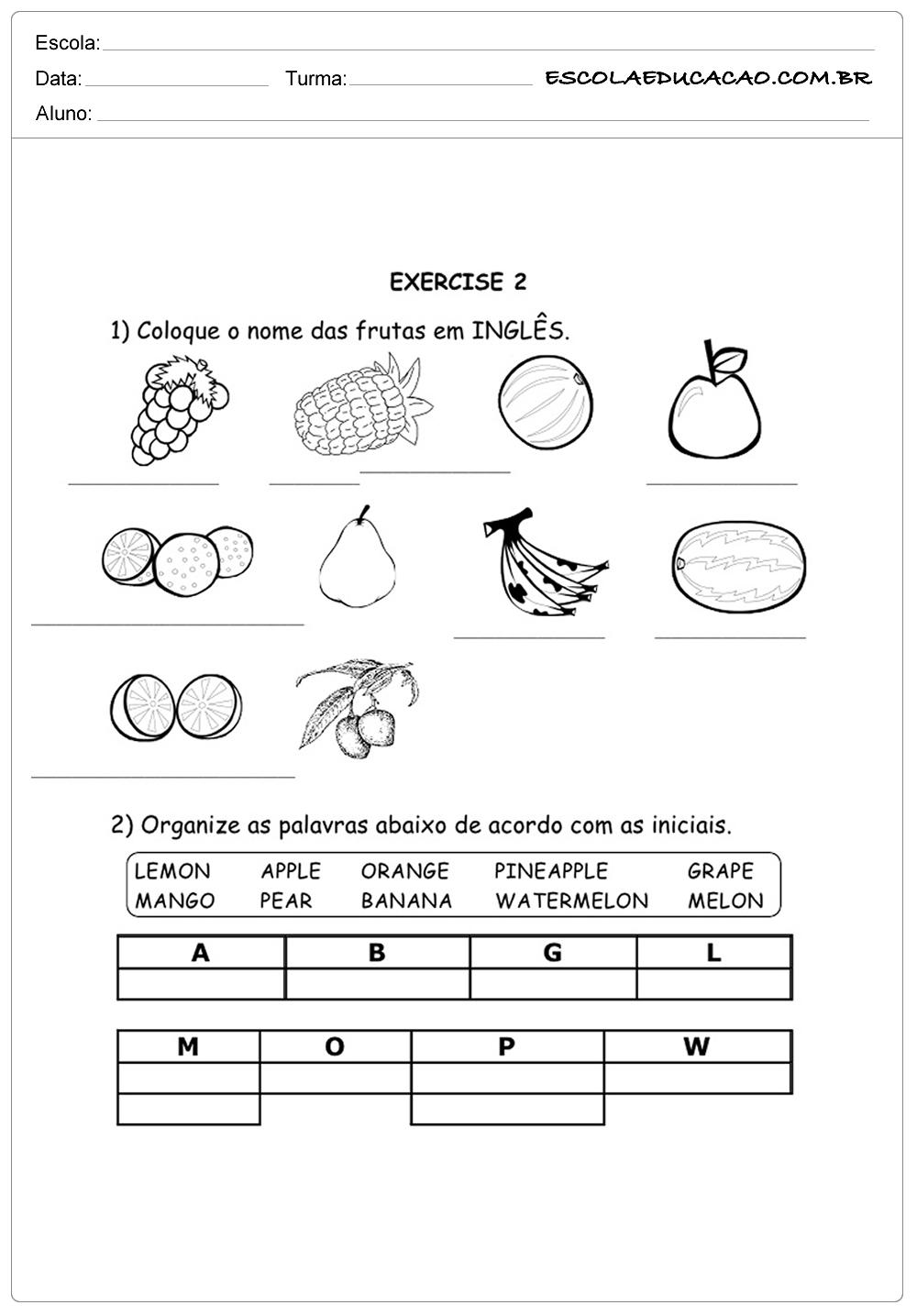 Atividades de Inglês para Imprimir – Aprendendo sobre frutas