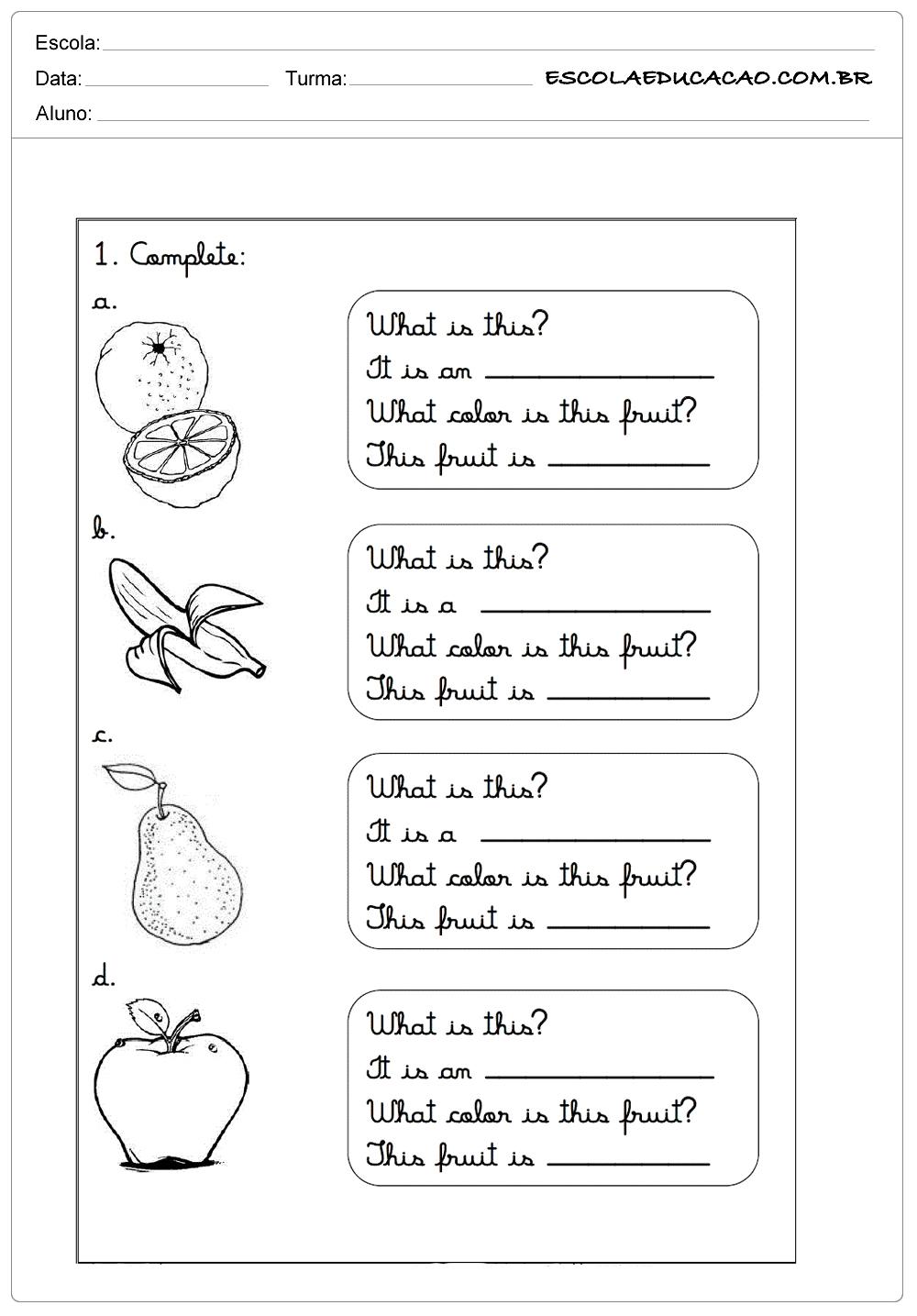 Atividades de Inglês para Imprimir – Complete as frases