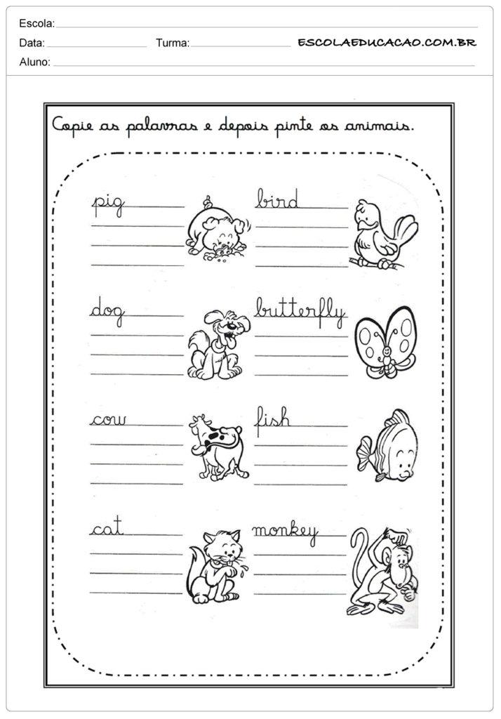 Atividades de Inglês para Imprimir - Copie as palavras e pinte os animais