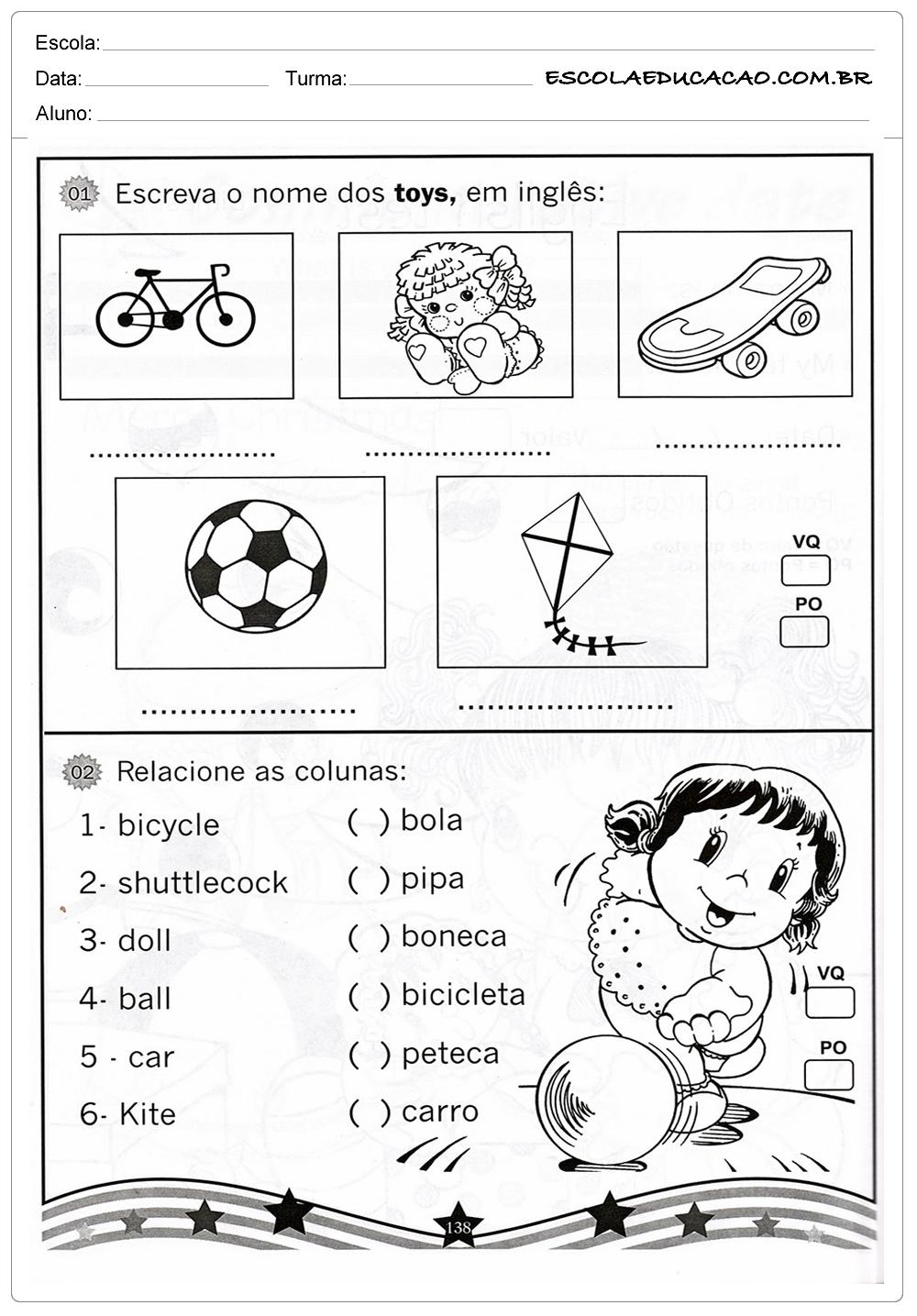 Atividades de Inglês para Imprimir – Escreva o nome dos brinquedos