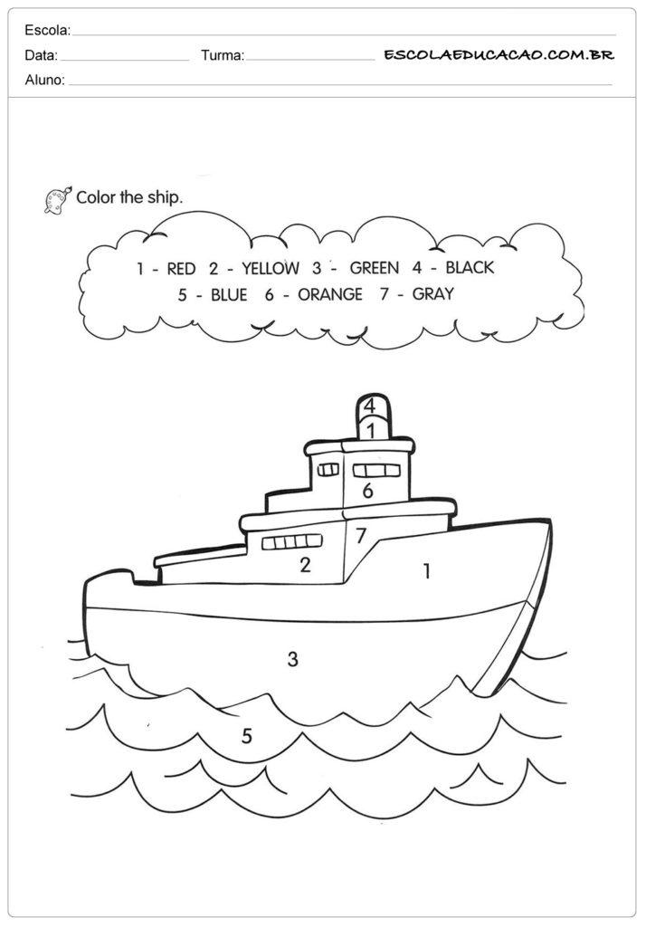 Atividades de Inglês para Imprimir - Pinte o navio com as cores indicadas