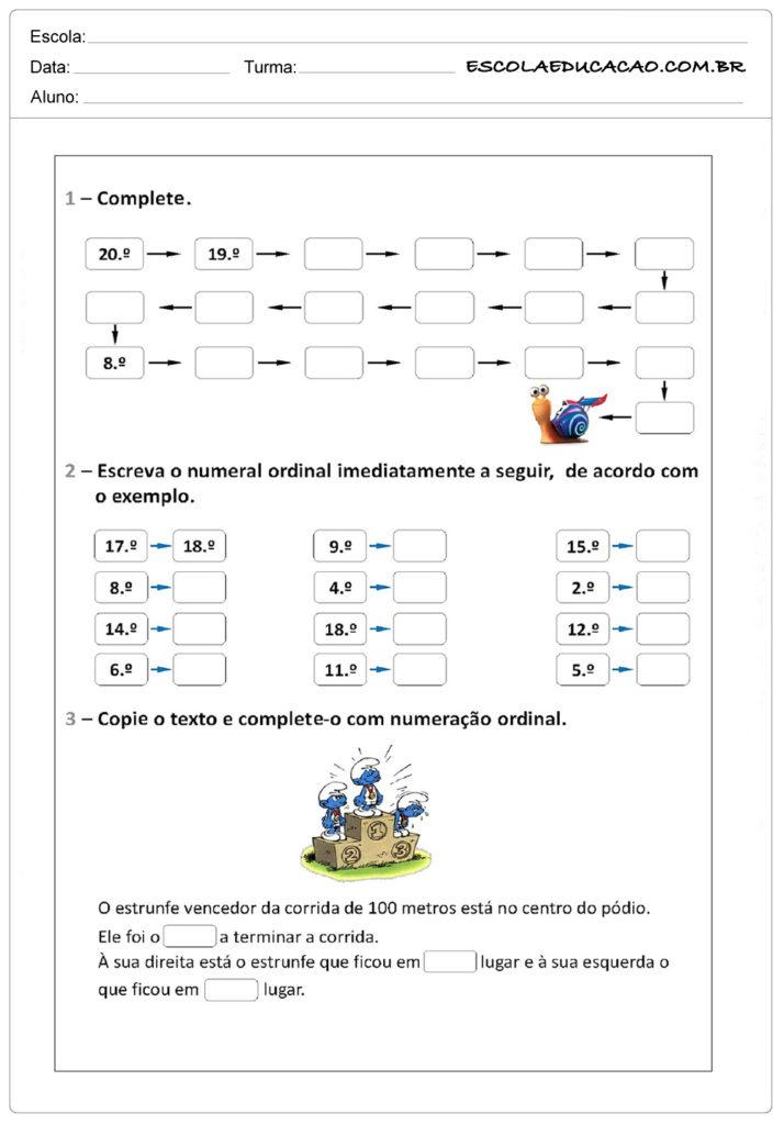 Atividades de problemas com números ordinais - Complete corretamente