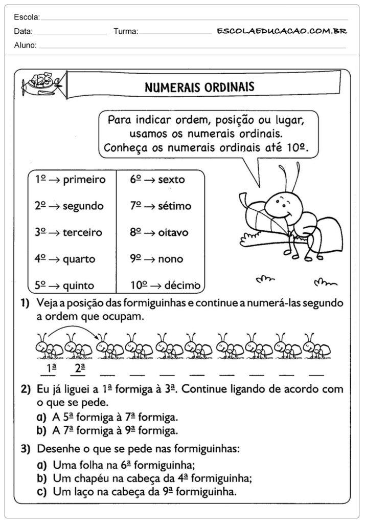 Atividades de problemas com números ordinais - Ordem correta