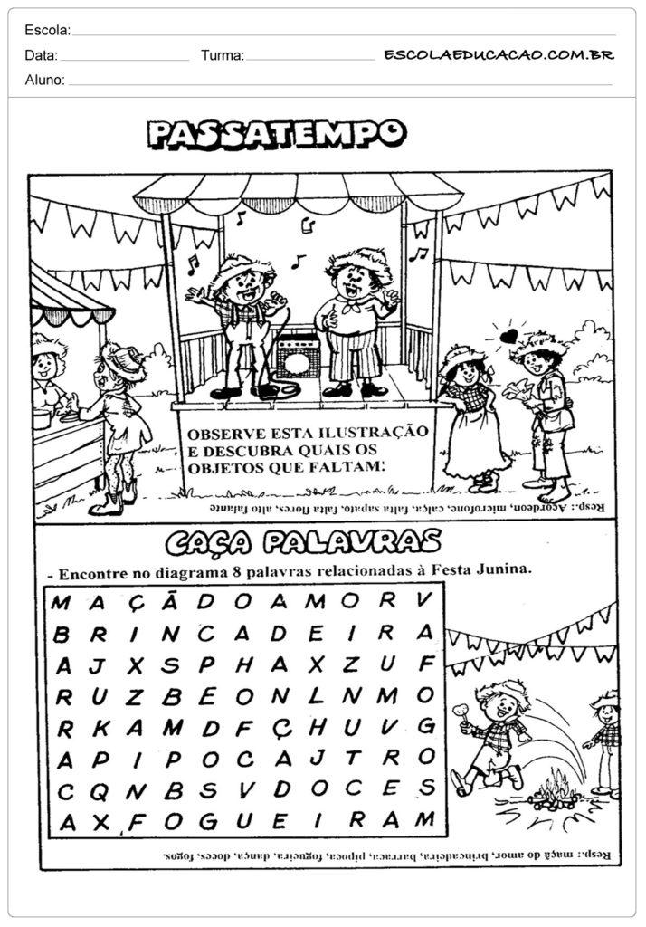 Atividades Festa Junina para o 1º ano - Passatempo