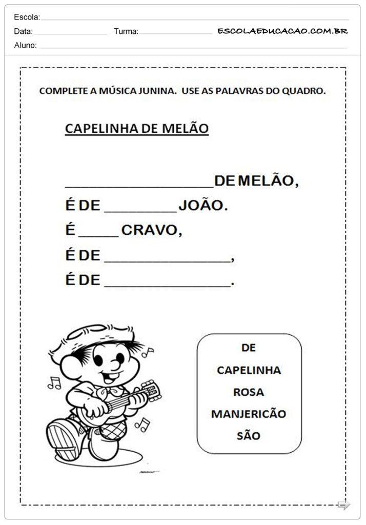 Atividades Festa Junina para o 1º ano - Capelinha de melão