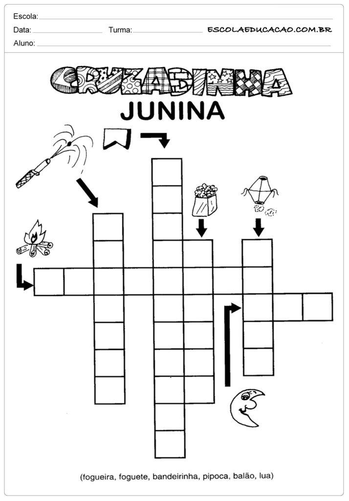 Atividades Festa Junina para o 1º ano - Cruzadinha