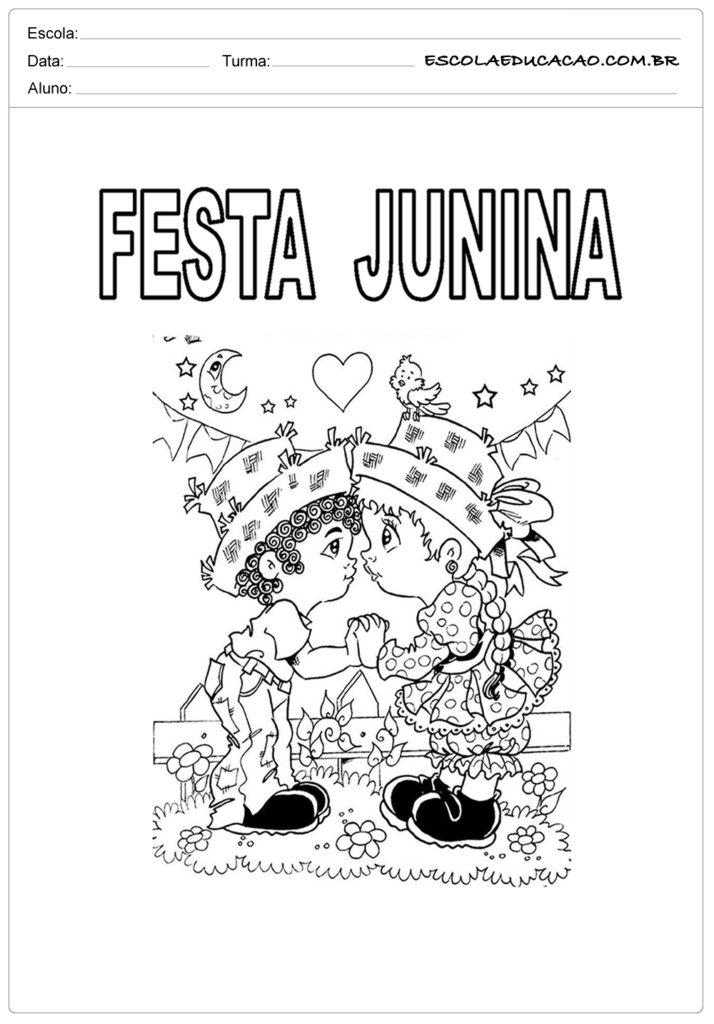 Atividades Festa Junina para o 1º ano - Para colorir