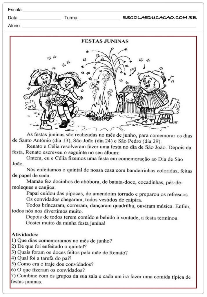 Atividades Festa Junina 4º ano - Texto sobre Festa Junina