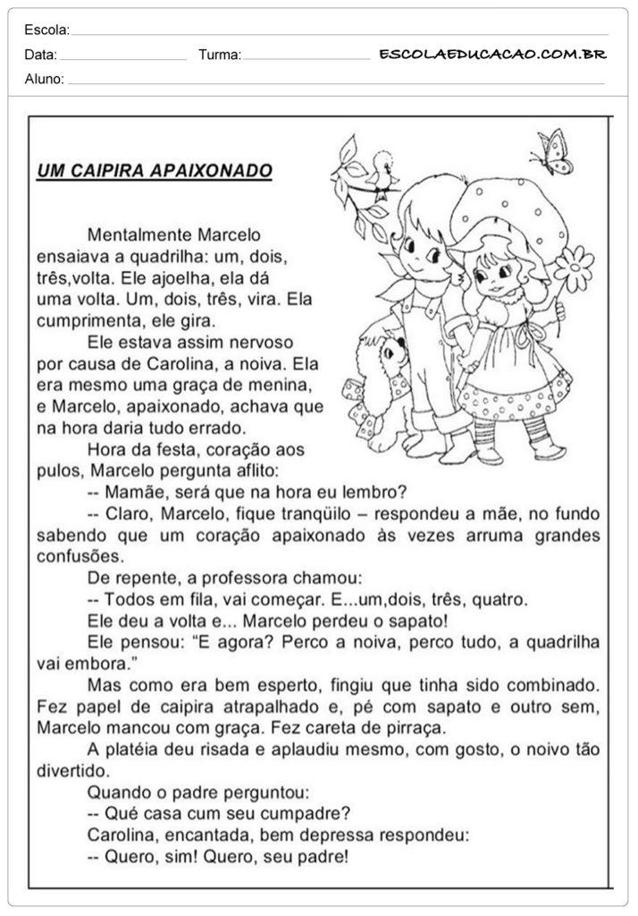 Atividades Festa Junina 4º ano - Um caipira apaixonado