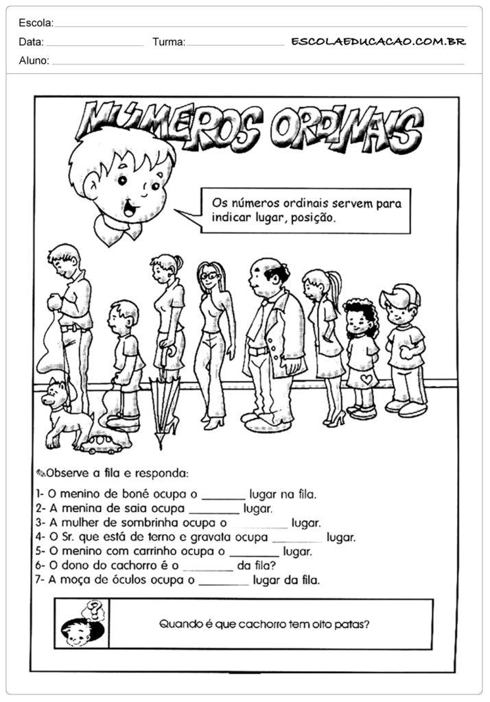 Atividades números ordinais 1º ano do ensino fundamental - Responda corretamente
